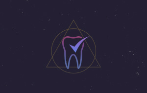 Animated tooth with check mark icon